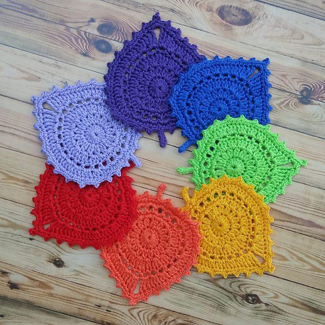 Leaf Coasters Free Crochet Pattern Dailycrochetideas