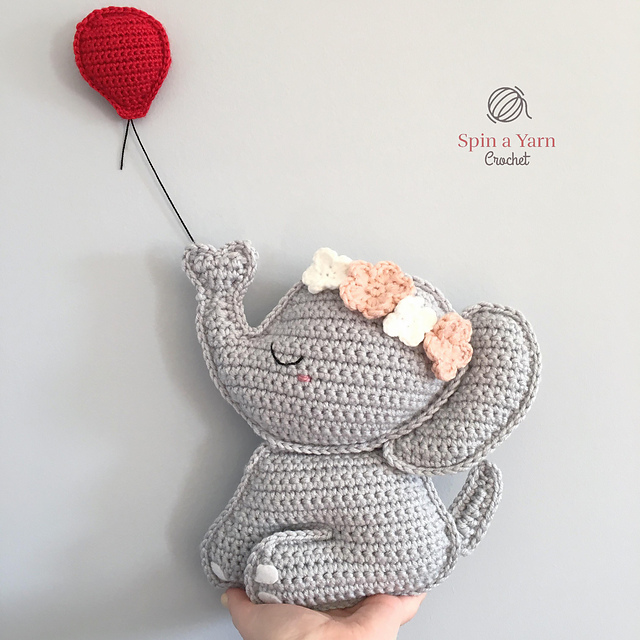 Grey and Blue Elephant crochet Soft Toy - Folksy | 640x640