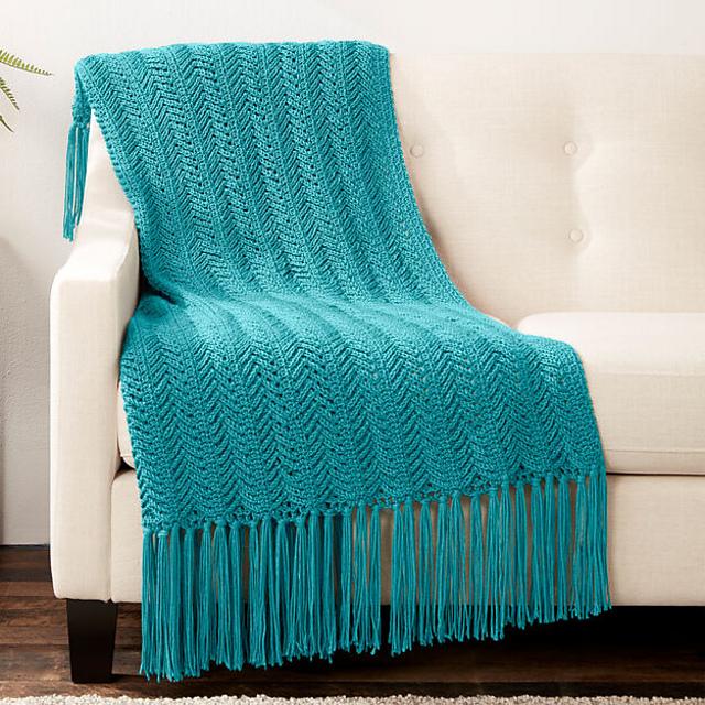 Vertical Herringbone Blanket Free Crochet Pattern