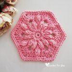 Bobble Drops Flower Hexagon Free Crochet Pattern2