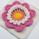 3D Flower Square Free Crochet Pattern
