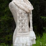 Lace Scarf with Flowers Free Crochet Pattern