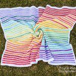Rainbow Stripe Baby Blanket Free Crochet Pattern