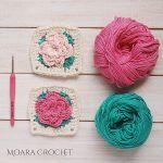 Rose Granny Square Free Crochet Pattern2