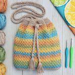 Summer Slice Drawstring Bag Free Crochet Pattern2