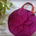 Handbag With Textured Flower Free Crochet Pattern