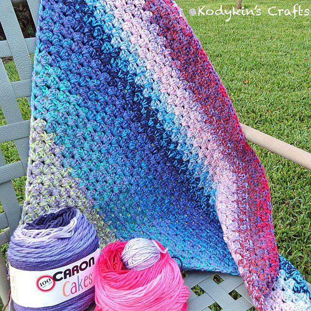 Diagonal Granny Blanket Free Crochet Pattern Dailycrochetideas