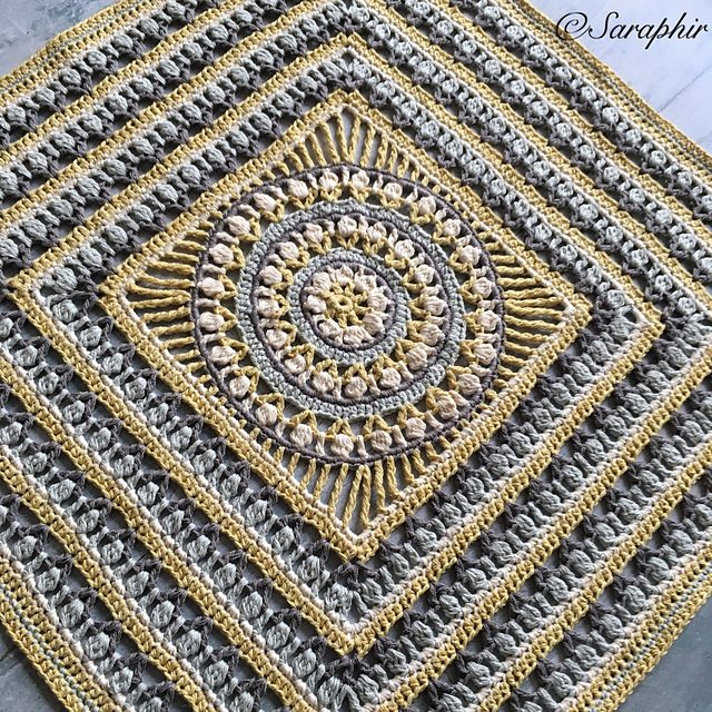 Wheel Circle Square Blanket Free Crochet Pattern Dailycrochetideas