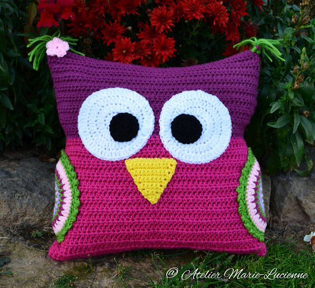 Owl Cushion Free Crochet Pattern Dailycrochetideas