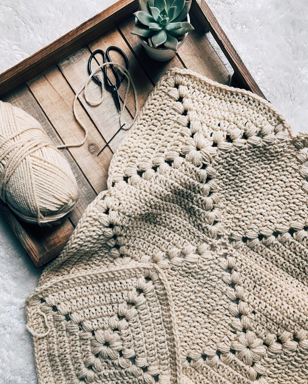 Farmhouse Granny Square Blanket Free Crochet Pattern