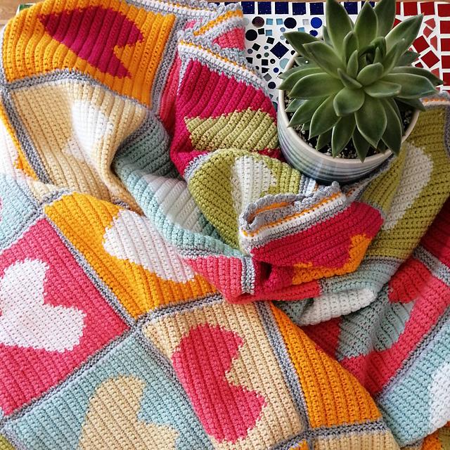 Colourful Heart Blanket Free Crochet Pattern