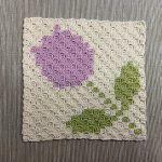 Tulip Coaster C2C Free Crochet Pattern