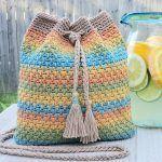 Summer Slice Drawstring Bag Free Crochet Pattern